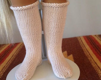 Hand Knitted Knee Sock for Sasha and Girl For All Time in Ecru Creamy Beige