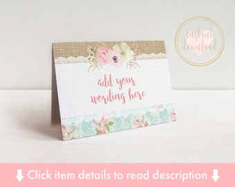 Shabby Chic Tent Cards - Place Cards, Name Cards - Wedding, Birthday, Christening -Instant Download - Editable File - Printable Tent Cards