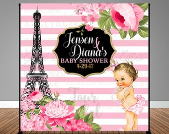 Stripes and Floral Paris Parisian Themed Baby Shower 8x8 Backdrop / Step & Repeat, Design, Print and Ship!