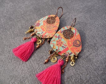 hippie chic boho earrings Bohemian vintage bohemian gypsy bohemian handmade copper earrings multicolor fuchsia Pompom