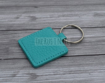 Square Leather Keychain - Turquoise - Slim Leather Keychain