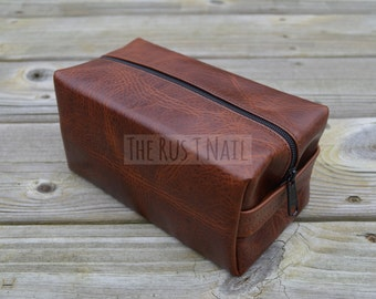 FREE SHIPPING - Medium Genuine Leather Toiletry Bag - Brown - Dopp Kit - Shaving Kit