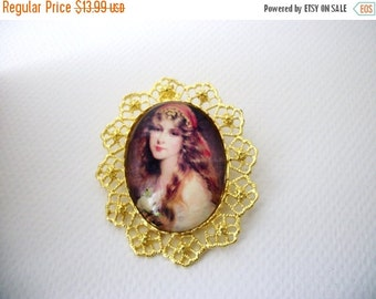 ON SALE Over Sized Gold Tone Filigree Beautiful Gypsy Bohemian Woman Glass Necklace Pin 113016