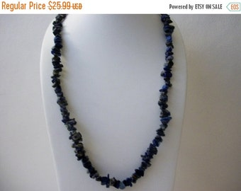 ON SALE Vintage Raw Untreated Natural Lapis Lazuli Chips No Clasp 34 Inches Necklace 13117