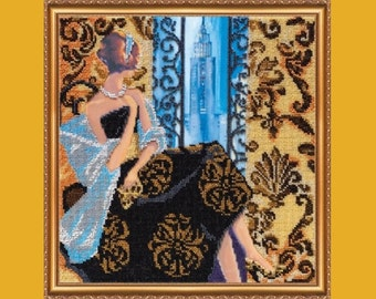 """The kit for a Embroidery with beads by ABRIS ART  """"Window to New York"""""""