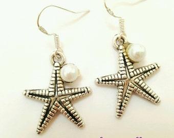 Starfish earrings, starfish and pearl earrings, starfish jewelry, pearl jewelry, pearl earrings, seastar earrings, seastar jewelry