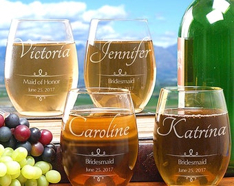 8 Personalized Gifts For Bridemaids, Bridesmaids Gifts, Brides Maids Gifts, Gift Ideas, Custom Stemless Engraved Wine Glass, ANY QANTITY