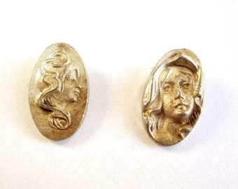 4 Side or frontal portrait pewter cameos, Small rare vintage cameos