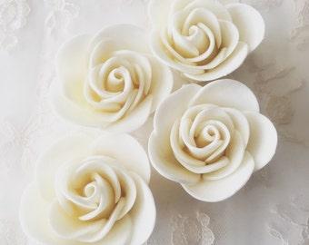 6 Fondant Roses II Gumpaste Roses Sugar Roses Edible Roses Edible Flowers Icing Flowers Wedding Topper Cake Topper Flower Arrangement