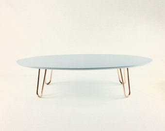 Blue Vintage coffee table with copper legs