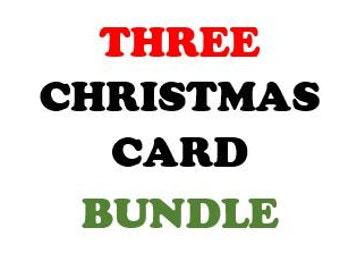 CHRISTMAS CARD Bundle - Three PDF Cards (Digital)