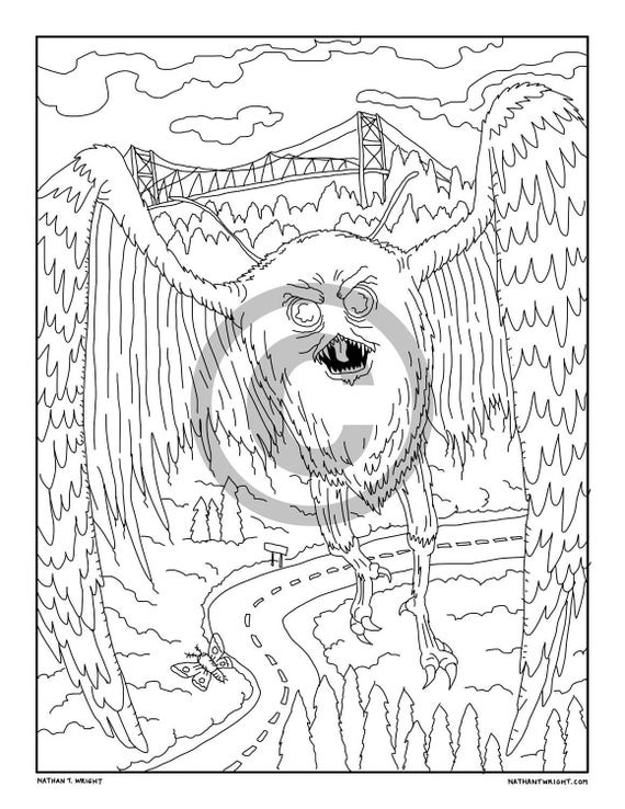 mothman coloring page printable adult coloring book page instant digital download coloring page