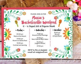Fiesta Bachelorette Party Itinerary Invitation, Mexican Bachelorette Schedule Timeline, Bachelorette Party, Bachelorette Weekend invitation