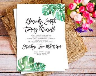 monstera wedding Invitation,  Tropical Watercolor wedding Invitation, Watercolor Tropical Bright Leaves wedding Invite, destination wedding