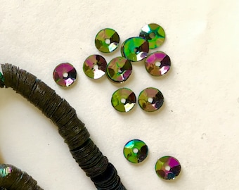 RESERVED4Brooke: A Whole Lot of Vintage Sequins Strand Black Crystal Rainbow Couture 6mm Cups Paillettes Iridescent Embroidery Notions