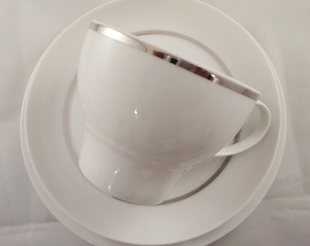 Thomas Rosenthal China Tea Cup and Saucer - White with Silver Band 1970s