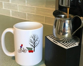 Christmas Mug  Biking to Grandmas, Christmas Decorations for Table, Christmas Mug Sets