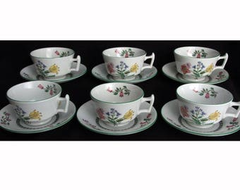 Spode Summer Palace.  Six Cups & Six Saucers.  London Shape.  ImperialWare