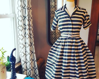 50s 1950s 50's 1950's Vintage Full Skirt Striped Dress Cute Small to Medium