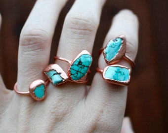 SALE \\ Copper Light Turquoise Nugget Ring, Copper Electroformed Ring, light color