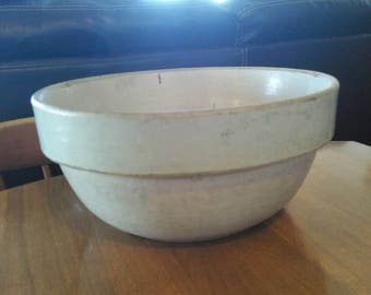 "Antique Large 10 3/4"" Crock Bowl Salt Glazed Stoneware Primitive"