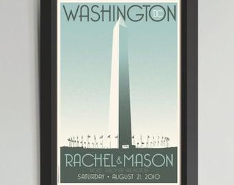DC Monument Personalized Framed Wedding Art (Large)