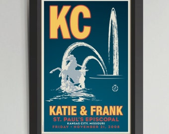 KC Plaza Fountain Framed Wedding Art (Medium)