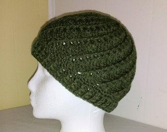 Crocheted Dark Green Spiral Beanie