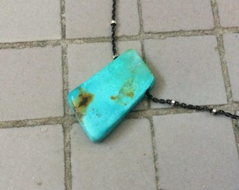 Two Tone Sterling Silver Chain Necklace with a Floating Natural Chinese Turquoise Freeform Pendant, Floating Necklace
