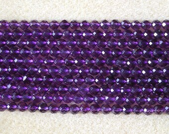 Natural Amethyst 6mm Hand Faceted Round Beads - Full Strand