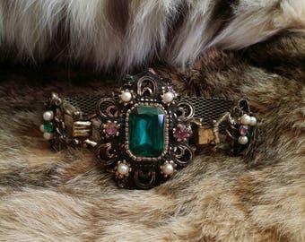 Victorian bracelet victorian style bracelet art deco bracelet antique bracelet victorian jewelry antique jewelry emerald pearl