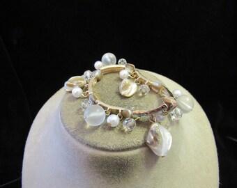 Vintage Goldtone Chunky Shell Beaded Faux Pearl Bracelet