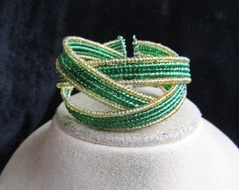 Vintage Chunky Gold & Green Colored Glass Beaded Cuff Bracelet
