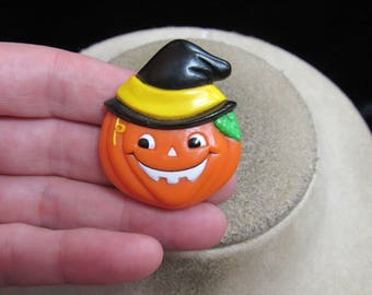 Vintage Halloween Signed Russ Pumpkin With Witch Hat Pin