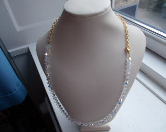 necklaces swarowski crystals bicones 6mm with filled gold chain and carabin lock