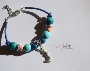 Little Mermaid Charm Bracelet | Fairytale Fantasy Water Nymph Siren Supernatural - Silver Light Blue Green Orange - Leather Wood - Present