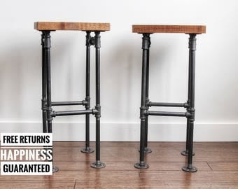 2 Industrial barstools with organic finish ⋆ solid wood barstools ⋆ rustic bar stool ⋆ barstool set ⋆ pipe bar stools ⋆industrial bar stool