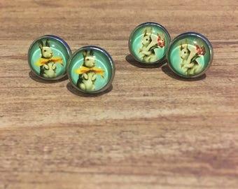 Rabbit Glass Dome Stud Earrings - Animal Earrings - Easter Earrings