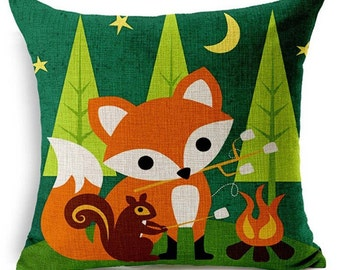 Fox Pillow, Animal Pillow, Pillow Case, Fox, Critter Pillow, Woodland