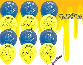 12pc latex Pokemon Pikachu balloons party decoration table cover banner flag cupcake toppers