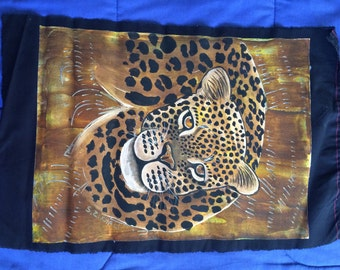 "19"" x 12"" Hand Painted Leopard on Black Cloth with Acrylic"