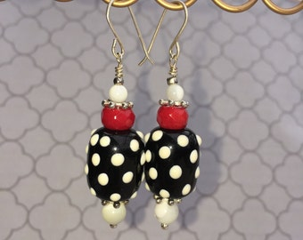 Black, white and red lampwork earrings