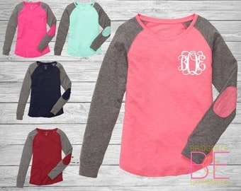 Monogrammed Long Sleeve with Elbow Patches - Pocket Area