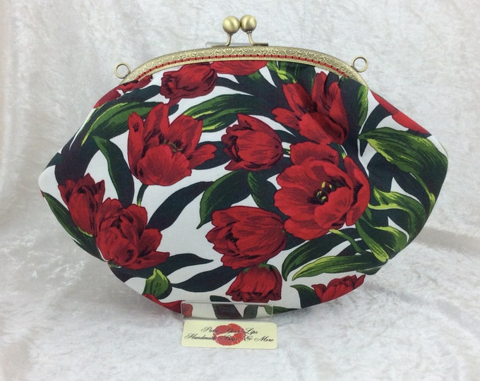 The Grace Red Tulips bag purse handbag clutch fabric handmade in England