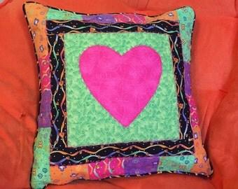 Neon Heart Pillow Sham