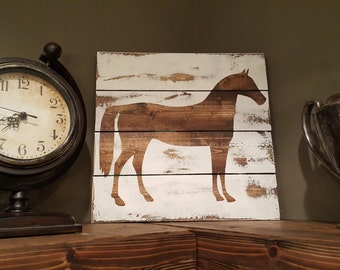 Stained Wood Horse Silhouette Wall Art