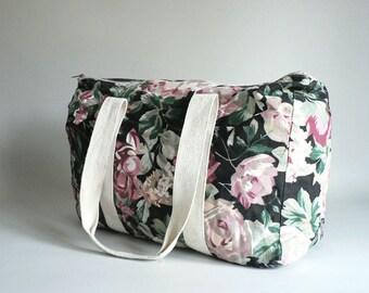 Womens Vintage Black Floral Tote Carry-All Bag