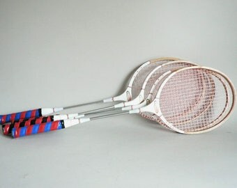 Wood Badminton Set of Four Rackets With Net