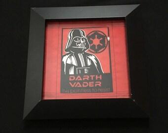 Framed Darth Vader quilt square