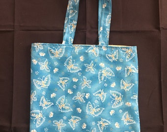 Blue butterflies reversible tote with pocket
